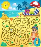 Laberinto 28 con el tema 2 de la playa Fotografía de archivo libre de regalías