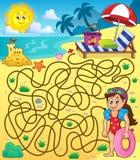 Laberinto 28 con el tema 1 de la playa Fotografía de archivo