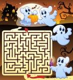 Laberinto 3 con el thematics de Halloween stock de ilustración