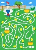 Laberinto con los huevos del gallo y del oro manera del hallazgo donde más huevos stock de ilustración