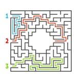 Laberinto cuadrado abstracto Juego para los cabritos Rompecabezas para los niños Tres entradas, una salida Enigma del laberinto E ilustración del vector
