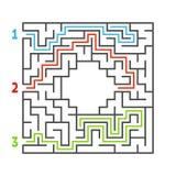 Laberinto cuadrado abstracto Juego para los cabritos Rompecabezas para los niños Tres entradas, una salida Enigma del laberinto E stock de ilustración