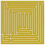 Laberinto cuadrado 21x21 (amarillo con la sombra) Imagen de archivo libre de regalías