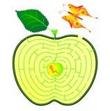 Laberinto de Apple. oruga y mariposa Imagenes de archivo