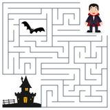 Laberinto de Halloween - Drácula y casa encantada ilustración del vector