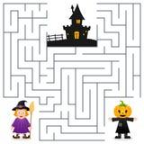 Laberinto de Halloween - espantapájaros y bruja Foto de archivo libre de regalías