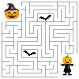 Laberinto de Halloween - espantapájaros y calabaza Foto de archivo libre de regalías