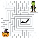 Laberinto de Halloween - Frankenstein y calabaza Imágenes de archivo libres de regalías