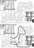 Laberinto de la parada de autobús stock de ilustración