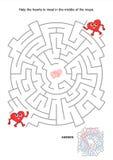 Laberinto de la tarjeta del día de San Valentín ilustración del vector