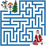Laberinto de Santa Claus y del árbol de navidad Imagenes de archivo
