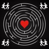 Laberinto del amor - funcionamiento de los pares para encontrar amor Fotos de archivo libres de regalías