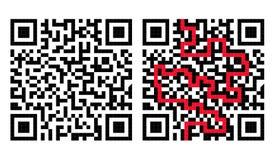 Laberinto del código de QR con la solución en rojo Imágenes de archivo libres de regalías