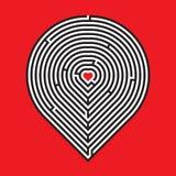 Laberinto del corazón en fondo rojo Fotos de archivo libres de regalías