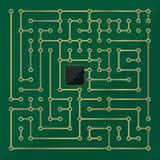 Laberinto del microchip del ordenador Fotografía de archivo libre de regalías