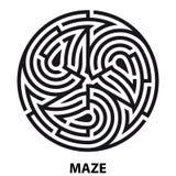 Laberinto del tatuaje del símbolo de Triskelion Laberinto circular geométrico stock de ilustración
