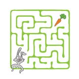 Laberinto del vector, laberinto con el conejo y zanahoria Fotos de archivo libres de regalías