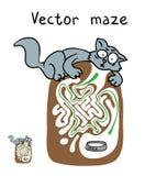 Laberinto del vector, laberinto con el gato Fotografía de archivo libre de regalías