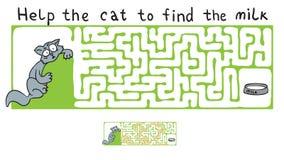 Laberinto del vector, laberinto con el gato Foto de archivo