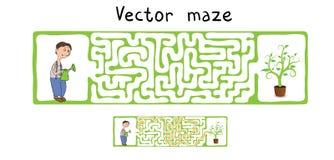 Laberinto del vector, laberinto con el jardinero y planta Imagen de archivo libre de regalías