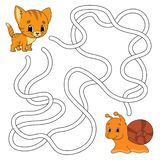 Laberinto divertido Juego para los cabritos Rompecabezas para los niños Estilo de la historieta Enigma del laberinto Ilustración  ilustración del vector