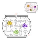 Laberinto divertido Juego para los cabritos Rompecabezas para los niños Estilo de la historieta Enigma del laberinto Ilustración  stock de ilustración