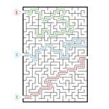 Laberinto grande rectangular abstracto Juego para los cabritos Rompecabezas para los niños Tres entradas, una salida Enigma del l stock de ilustración