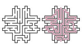 Laberinto/laberinto abstractos con la entrada y la salida fotografía de archivo libre de regalías