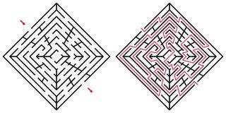 Laberinto/labyrint abstractos con la entrada y la salida Imagenes de archivo