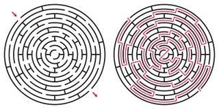 Laberinto/labyrint abstractos del círculo con la entrada y la salida Foto de archivo libre de regalías