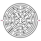 Laberinto/labyrint abstractos del círculo con la entrada y la salida Foto de archivo
