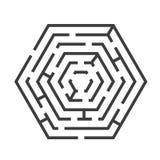 Laberinto o Maze Hexagon Shape Vector ilustración del vector