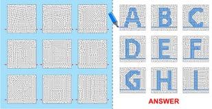 Laberinto para los niños - A, B, C, D, E, F, G, H, I del alfabeto Fotos de archivo libres de regalías