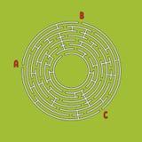 Laberinto redondo abstracto Juego para los cabritos Rompecabezas del ` s de los niños Muchas entradas, una salida Enigma del labe libre illustration
