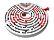Laberinto redondo con la flecha roja en meta Foto de archivo