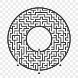 Laberinto redondo negro Con tres maneras Juego para los cabritos Rompecabezas para los niños Enigma del laberinto Ejemplo plano d libre illustration