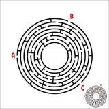 Laberinto redondo negro Juego para los cabritos Rompecabezas del ` s de los niños Muchas entradas, una salida Enigma del laberint libre illustration