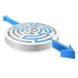 Laberinto solucionado azul redondo 3D del vector Fotografía de archivo libre de regalías