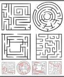 Laberintos o diagramas de los laberintos fijados Imagen de archivo