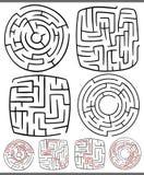 Laberintos o diagramas de los laberintos fijados Imagenes de archivo