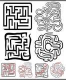 Laberintos o diagramas de los laberintos fijados Imágenes de archivo libres de regalías