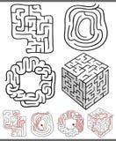 Laberintos o diagramas de los laberintos fijados Imagen de archivo libre de regalías