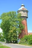 Labiau老水塔在夏日 Polessk,加里宁格勒地区 免版税库存照片
