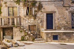 Labin,克罗地亚古镇的老街道  库存图片