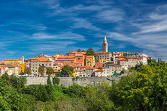 LABIN, CROATIA, August 30, 2014 - Old village on the top of the. Mountain in Labin, Istria, Croatia Stock Images