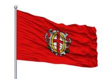 Labina City Flag On Flagpole, Croacia, aislado en el fondo blanco ilustración del vector
