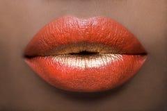 Labios atractivos del rojo y del oro Imagen de archivo