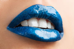 Labios azules Fotos de archivo