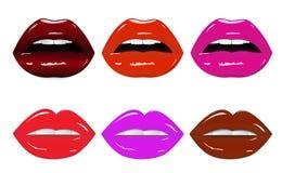 Labios brillantes atractivos brillantes con diversos colores libre illustration