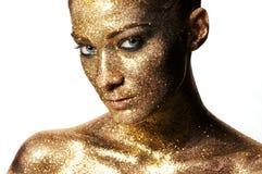 Labios clásicos del oro de la moda Fotos de archivo libres de regalías